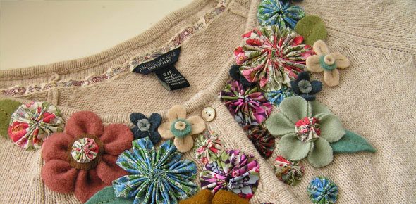 felt, flower,applications,decorations,fashion,refashion,clothing,cardigan,upcycle,