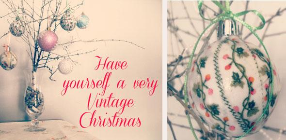 christmas, vintage, modpodge, diy, fabric scraps