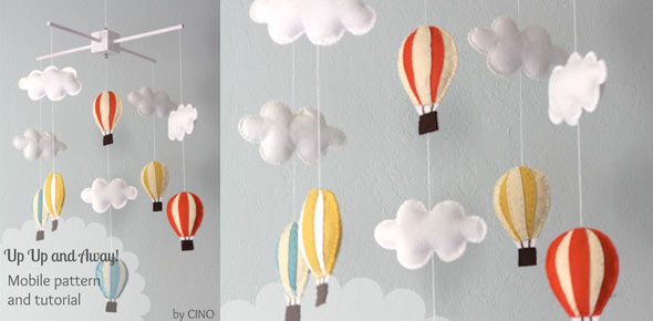 ballon,felt,sewing,decoration,baby room,mobile