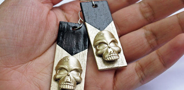 earrings, jewelery,jewelry,skull,wood
