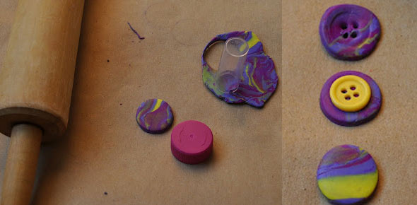 polymer clay, buttons