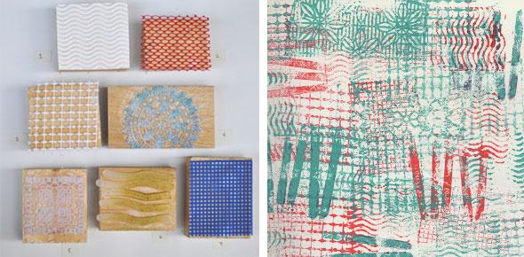 printing, printmaking, stamping, upcycled