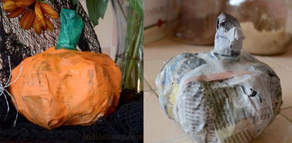 papier, paper mache, pumpkin, halloween, holiday, fall, autumn, green, orange