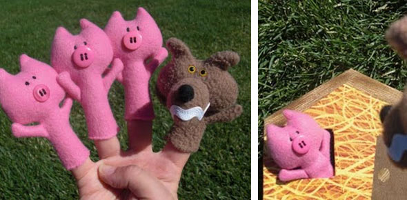 animal for children, mascot, softie, toys, animal, pig, finger puppets