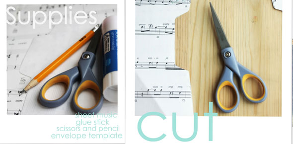 stationary, envelopes, sheet music, recycle, upcycle, paper