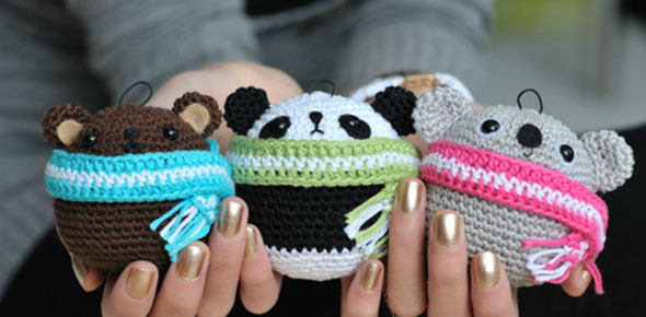 christmas,animals,decoration,bear,panda,yarn,koala