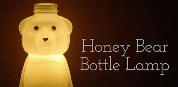 upcycle, lamp, honey, bear, bottle