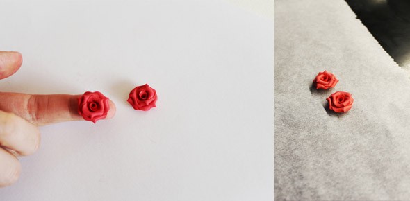 rose, flower, clay, polymer, fimo, red, jewelry, earrings
