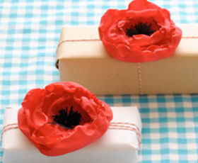 gift, gift toppers,flower,fabric,decoration,poppy,red