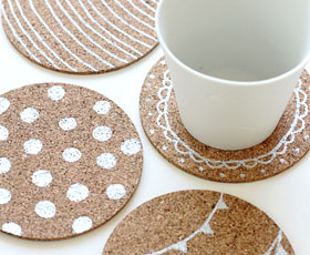 coasters,cork,paint,decoration
