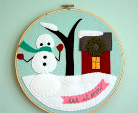 snow,felt,applique,embroidery,holiday,christmas,felt