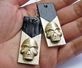 earrings, jewelery,jewelry,skull,wood
