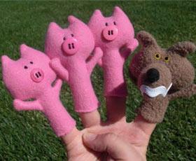 animal for children, mascot, softie, toys, animal, pig, finger puppets