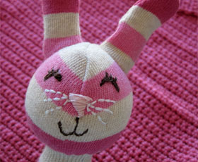 sewing,baby,sock,recycled,animal,toys,rattle