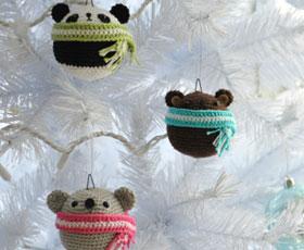 christmas,animals,decoration,bear,panda,yarn,koala