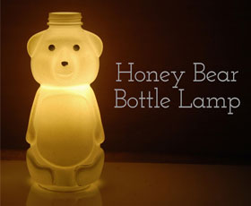 upcycle, lamp, honey, bear, bottle
